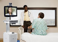 Doctor using telemedicine EHR service